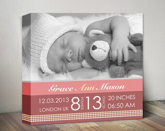 Baby Birth Announcement Canvas, Baby Birth Stats Nursery Wall Decor, New Baby Wall Art, Birth Stats, Baby Girl or Boy Canvas Print