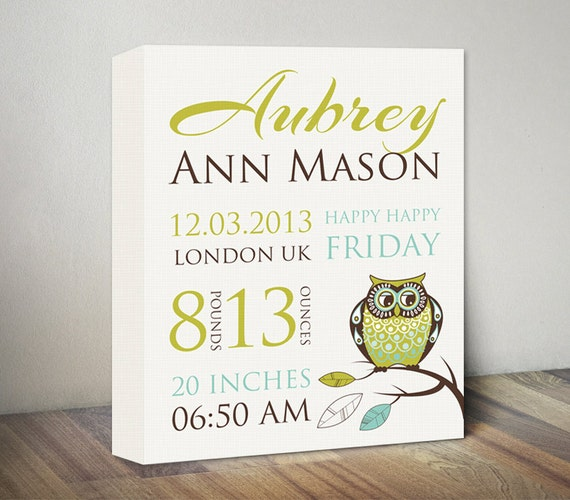Owl birth announcement canvas art new baby gifts baby print like this item negle Choice Image