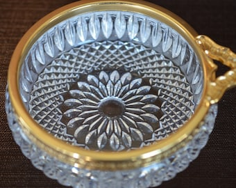 Antique Cut Crystal Bowl with Bronze Mounted Rim and Handle