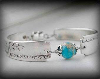 Spoon Bracelet with Blue Jasper, Vintage Silverware Jewelry, Sea Sediment Jasper, Bridesmaid Jewelry Grenoble Silver Plate
