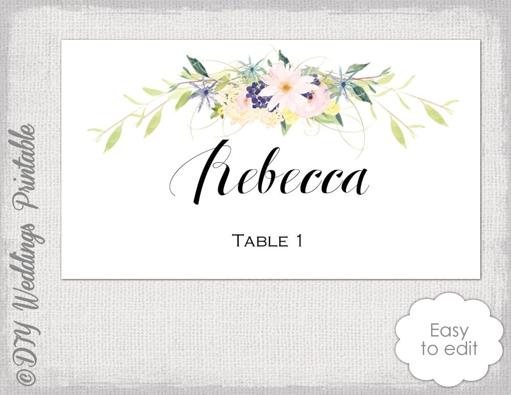 place card template flower garland   wreath eden