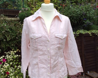 Vintage Laura Ashley UK18 EU 44 US 14 pink blouse