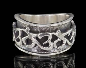 Om Spinner Ring - 925 Sterling Silver Meditation Japa Spinner Ring #011