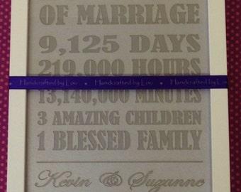 Silver wedding anniversary papercut 25 years