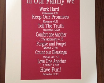 Family / house rules - mounted print 30cm x 40cm