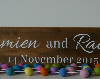 Personalized wedding,anniversary, home decor wood sign. Gift. Photo prop.