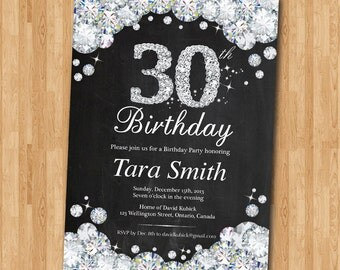 30th Birthday Invitation Chalkboard. Rhinestone Diamond Elegant Birthday Bash invite. Black and White. Ang age. Printable Digital.