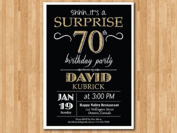 Surprise 70th birthday invitation. Chalkboard. Gold Glitter