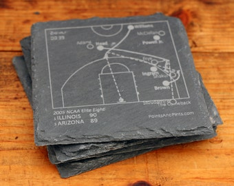 Illinois Greatest Plays - Slate Coasters (Set of 4)