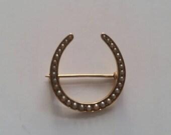 Victorian seed pearl horseshoe | 14k horseshoe brooch