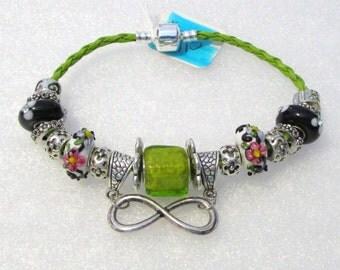 915 - Lime & Black Infinity Bracelet