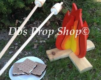 wooden summer campfire photography prop