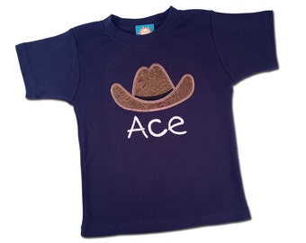 Cowboy Shirt with Faux Leather Hat and Embroidered Name