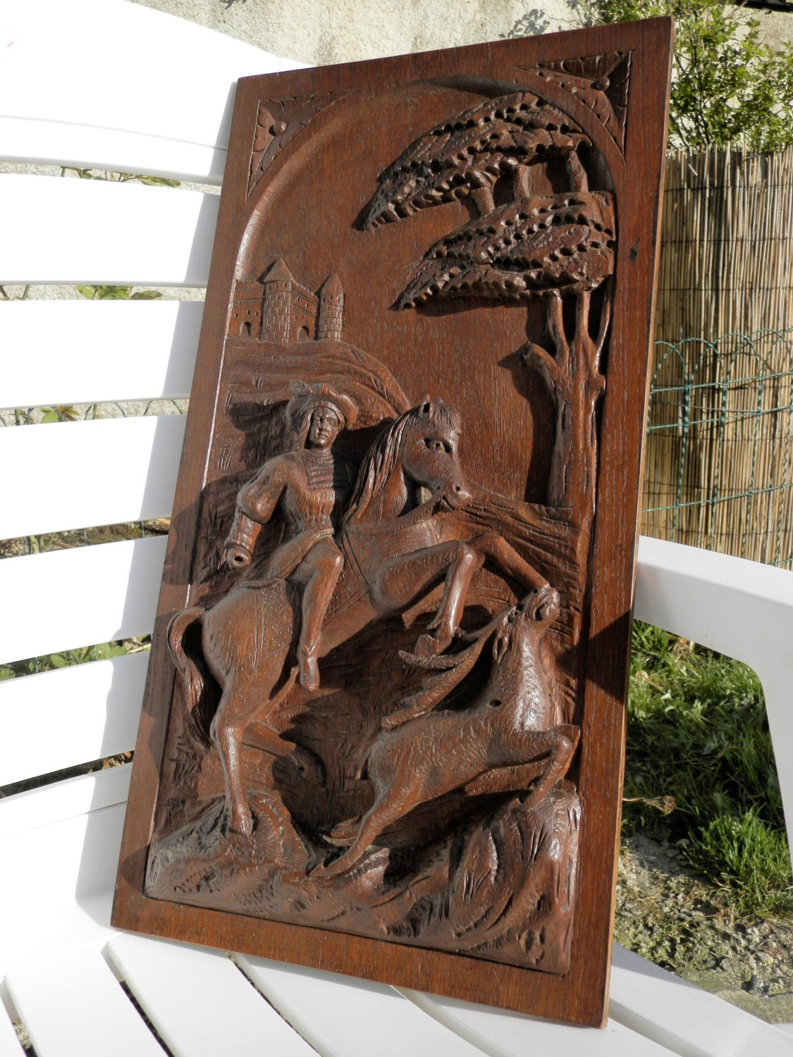 Antique Wood Paneling: Antique French Carved Wood Panel. BIG. C1890. Medieval Hunting