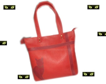 MYSTERE- Sac cabas cuir rouge avec chat