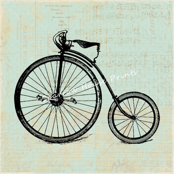 Antique print high wheel bicycle wall art bike home decor for Bicycle wheel wall art