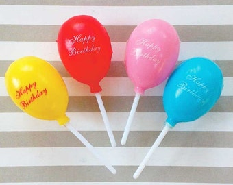 8 Happy Birthday Balloon Cupcake Picks Plastic Toppers Balloons on Sticks