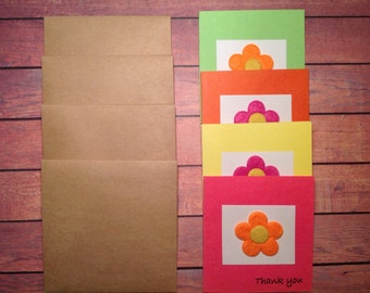 Thank you cards, mini thank you cards, cards with flowers, set of 4 mini cards, cards with Kraft paper envelopes