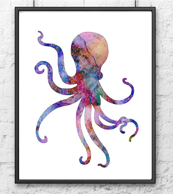 Colorful watercolor octopus painting nautical art by for Colorful octopus painting