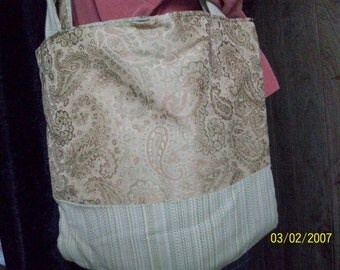 Hand made tote bag.  Use it for school books, shopping, a purse or what ever you desire.
