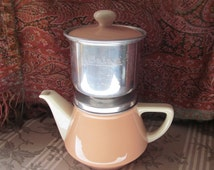 Vintage French Villeroy & Boch Teapot/Coffee Pot and Filter in a lovely Pale Pink and White Glaze