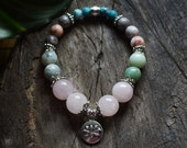 The Beloved - Heart Chakra bracelet - Rose Quartz, Amazonite and Rhodonite Healing crystals and stones - Valentines Day Gift