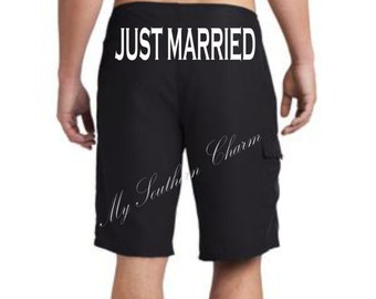 Just Married Board Short, Honeymoon, Groom Board Short, Couples Shower Gift, Swim Trunks (st001) b7