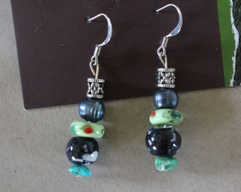 Green multi beaded earrings