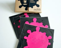 PINK Coasters - 4 Funky Silicone Anti-Slip Heat Resistant Washable Mats