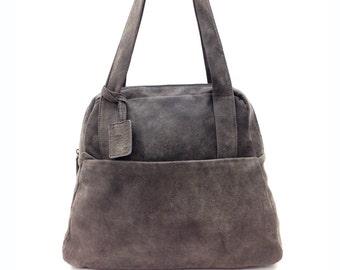 Sale!!! GREY Leather tote bag, leather bag, premium distressed leather bag, Medium leather tote bag, Miri bag