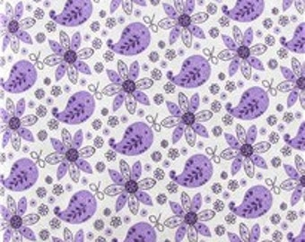 Purple Flower and Paisley 100% Cotton Fabric by the yard