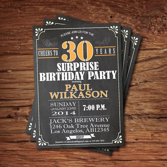 Surprise 30th Birthday Invitation. Retro Chalkboard. Cheers To