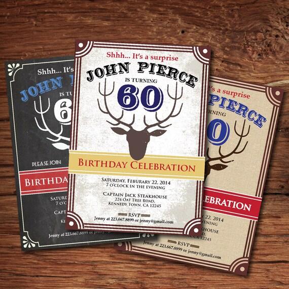 Surprise 60th Birthday Invitation. Deer Atler Hunting Theme