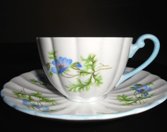 Shelley China Blue Poppy Ludlow Cup & Saucer
