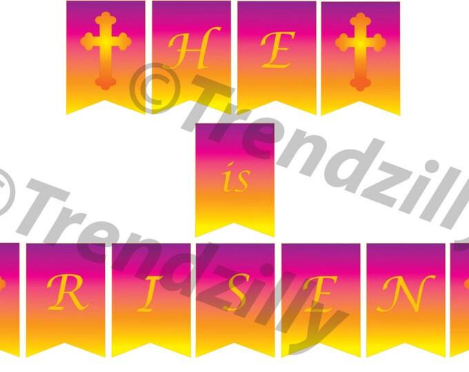 Easter Banner, He is Risen Easter Banner, Printable Easter Banner, Easter Banner with Cross, Printable Instant download.