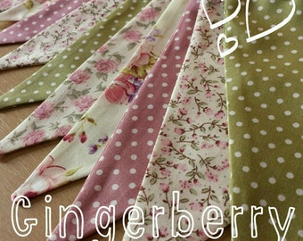Gingerberry Bunting - Shabby Chic floral gingham Green and Dusky Pink - Cottage Chic