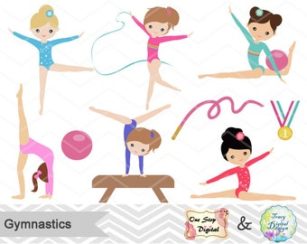 Gymnastics Digital Clipart, Digital Girls Gymnastics Clip Art, Gymnastic Girl Clip Art, Digital Gymnast Girl Clipart, 00192