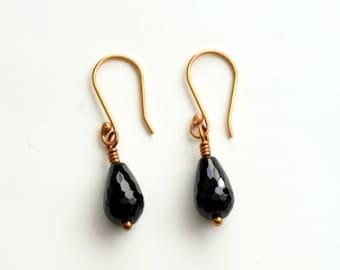 Black Onyx Briolette Drop Earrings with Antique Bronze Earwires