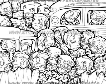 Zombie Car Park Massacre Colouring Page Adult Book