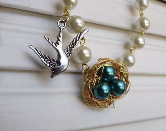 Gold and Pearl with Nest Charm necklace- Shabby Chic necklace