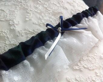 Aggie:  Tartan garter with vintage pearl Blackwatch tartan