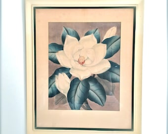 Vintage Shirrell Graves Watercolor Painting Airbrush Magnolia Framed Shabby Cottage Decor Art Collector Floral