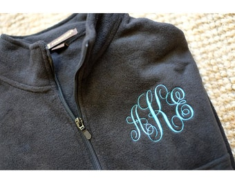 Monogram Sweatshirt, Monogrammed Fleece Jacket, monogram pullover, Monogram quarter zip, half zip, monogram fleece pullover