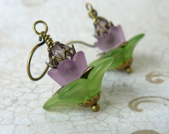 Green and Lavender Flower Earrings, Lavender Lucite Flower Earrings, Purple Floral Dangles, Woodland Fairytale Inspired Jewelry
