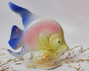 Vintage Ceramic Angelfish Figurine ~ Beach House ~ Nautical Decor ~ Bathroom Decor ~ Marine ~