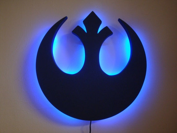 items similar to star wars rebel alliance emblem led wall light night light on etsy. Black Bedroom Furniture Sets. Home Design Ideas