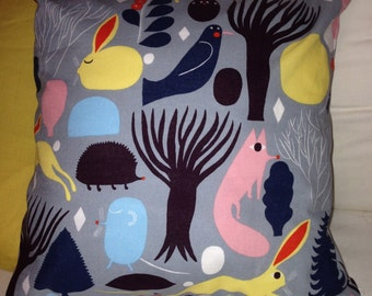 "Cute Pikku Huhuli pillow case from Marimekko cotton, 14x14"", 35x35cm, Finland"