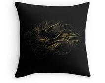 Black and Gold, Black Gold Cushion, Fancy Cushion, Black Throw Pillow, Bird Throw Pillow, Calligraphy, Gift for Birder, 18x18 Pillow Cover