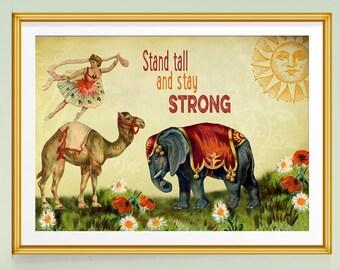 Inspirational Print, Inspirational Quote, Ballerina Art, Whimsical Art, Gift for Dancer, Ballet, Dancer Art, Elephant Print, Ballet Art