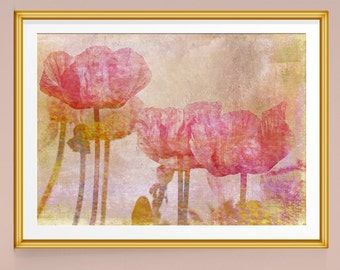 Flower Decor, Poppy Wall Art, Watercolor Print, Watercolor Flowers, Watercolour Print, Poppy Photograph, Large Wall Art, Large Art Prints